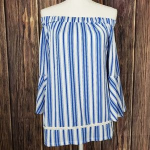 Cute Blue and White Off Shoulder Top